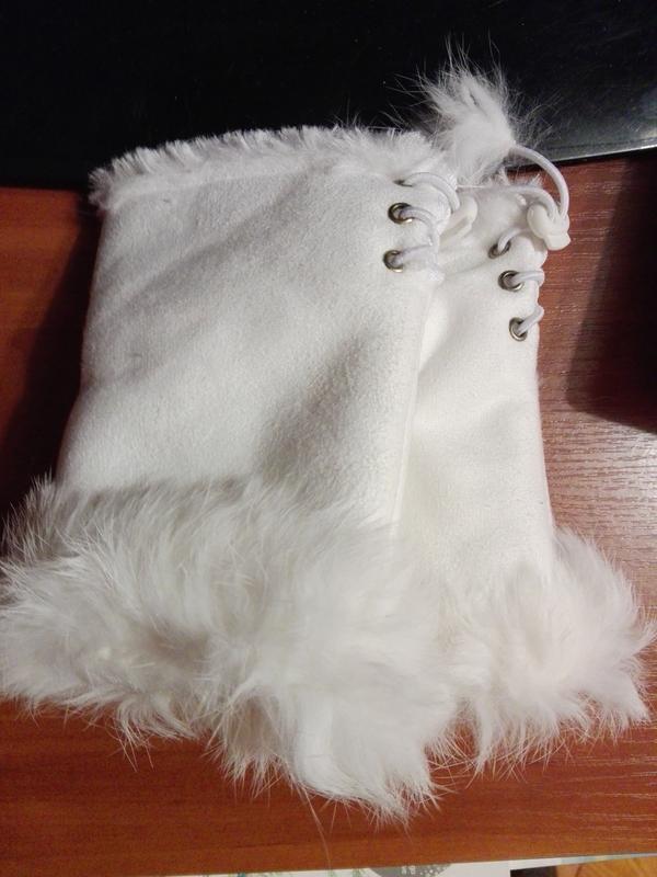 Митенки рукавички без пальцев с мехом белые - Фото 3