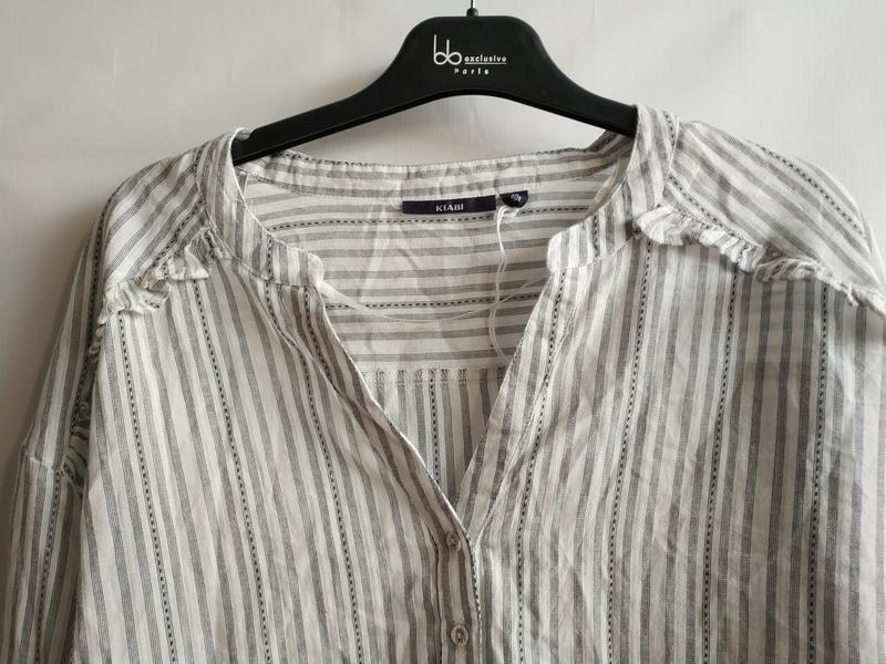 Женская рубашка-блуза в полоску хлопок французского бренда kia... - Фото 4