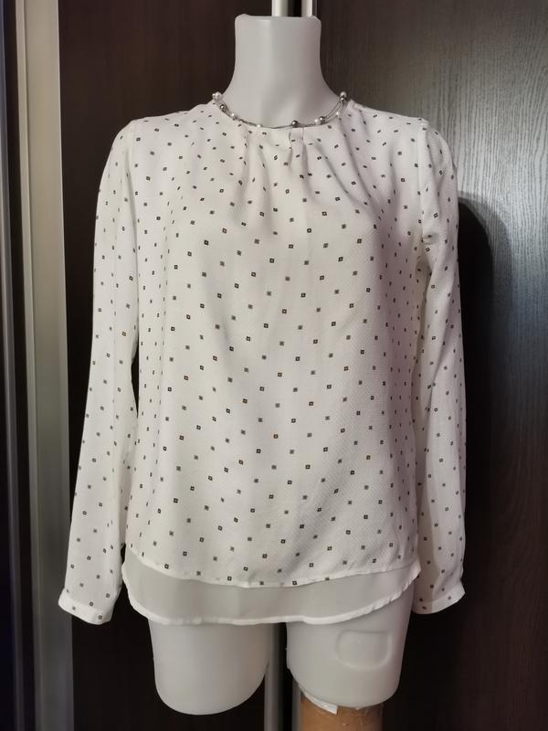 Белая блуза в стиле isabel marant с нежным принтом xs-s - Фото 3