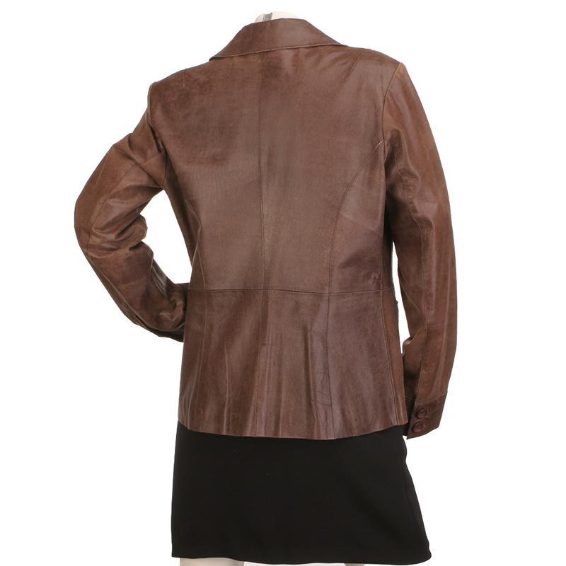 Laura Ashley кожаный пиджак 100% натуральная кожа стильный жакет - Фото 4