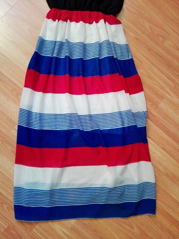 Классное летнее платье сарафан в морском стиле в полоску - Фото 2