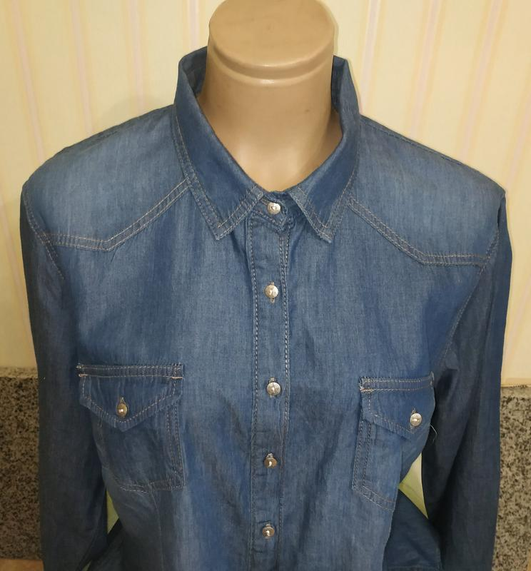 Женская фирменная джинсовая рубашка батал - Фото 3