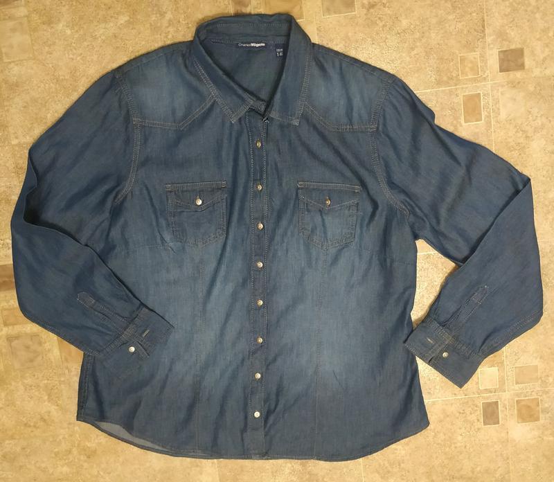 Женская фирменная джинсовая рубашка батал - Фото 4
