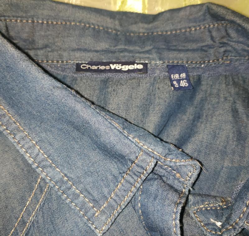 Женская фирменная джинсовая рубашка батал - Фото 5
