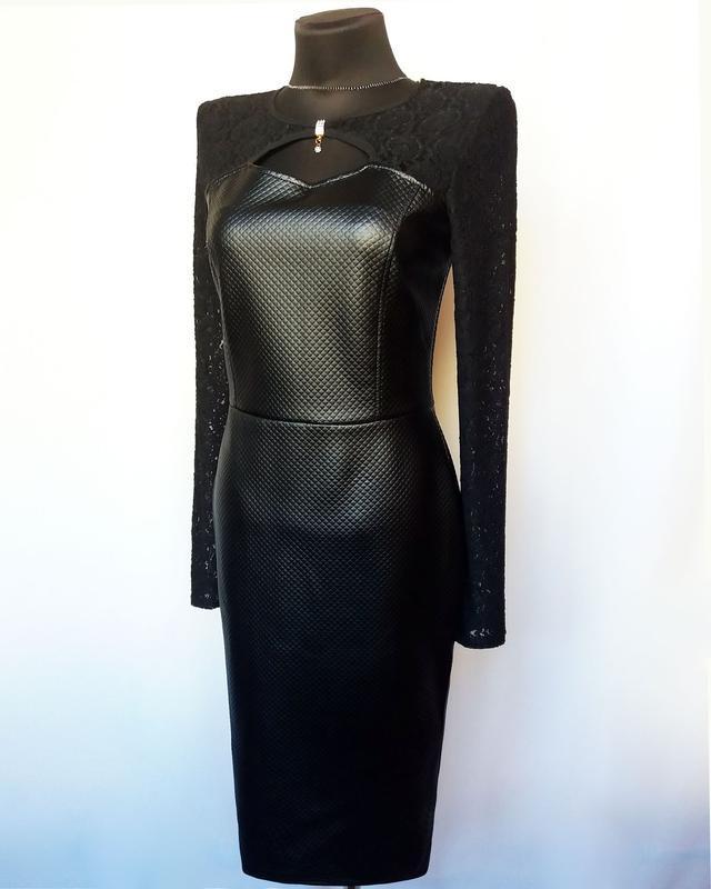 Суперцена. стильное черное платье, кожа и гипюр. новое, р. m/4... - Фото 3