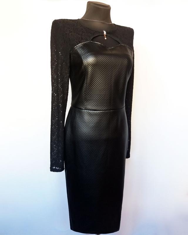 Суперцена. стильное черное платье, кожа и гипюр. новое, р. m/4... - Фото 4