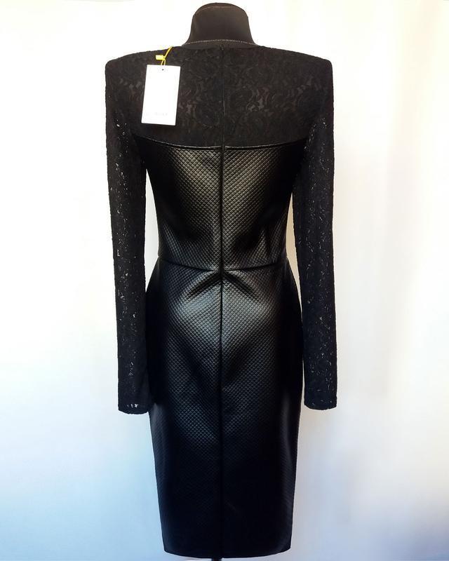 Суперцена. стильное черное платье, кожа и гипюр. новое, р. m/4... - Фото 5