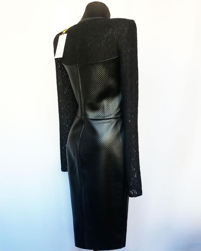 Суперцена. стильное черное платье, кожа и гипюр. новое, р. m/4... - Фото 6
