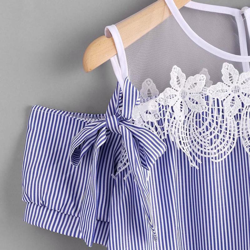 Блуза с открытыми плечиками декорированы кружевом - Фото 3