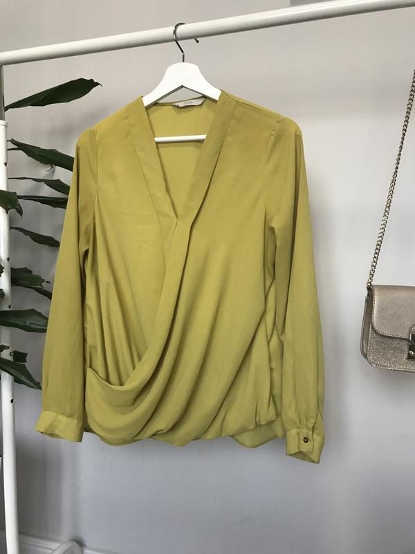 Крутая блуза/рубашка горчичного цвета - Фото 2