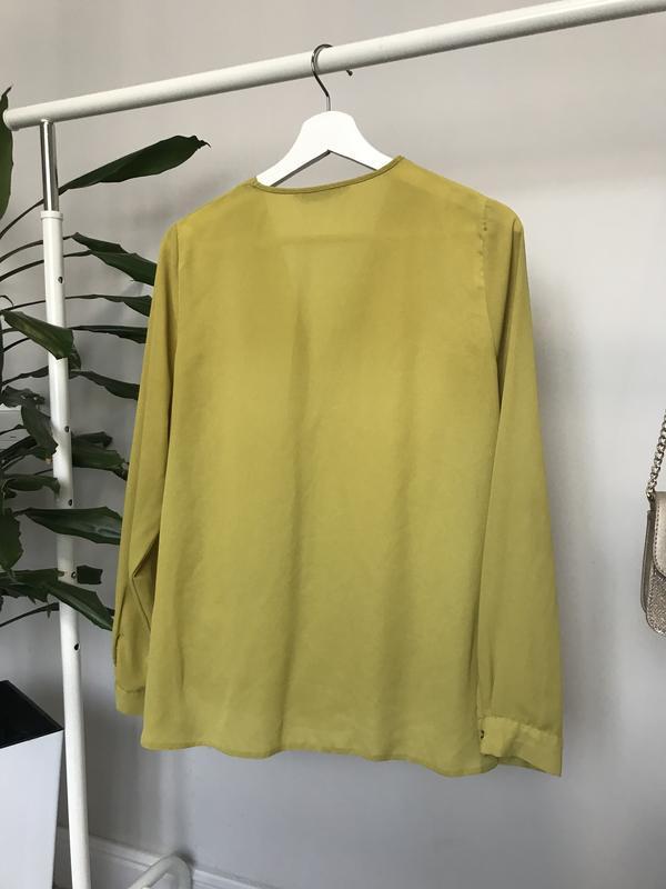 Крутая блуза/рубашка горчичного цвета - Фото 3