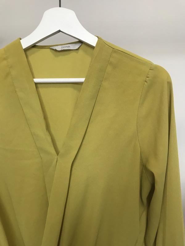 Крутая блуза/рубашка горчичного цвета - Фото 4