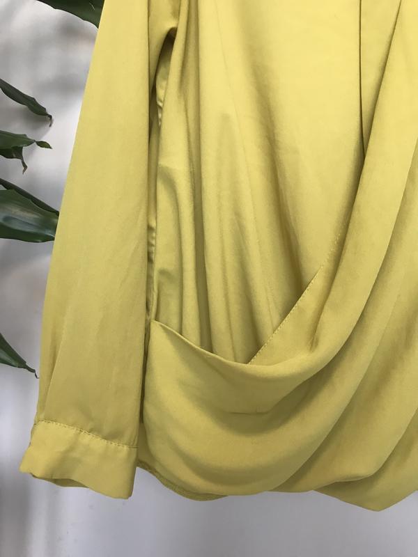 Крутая блуза/рубашка горчичного цвета - Фото 5