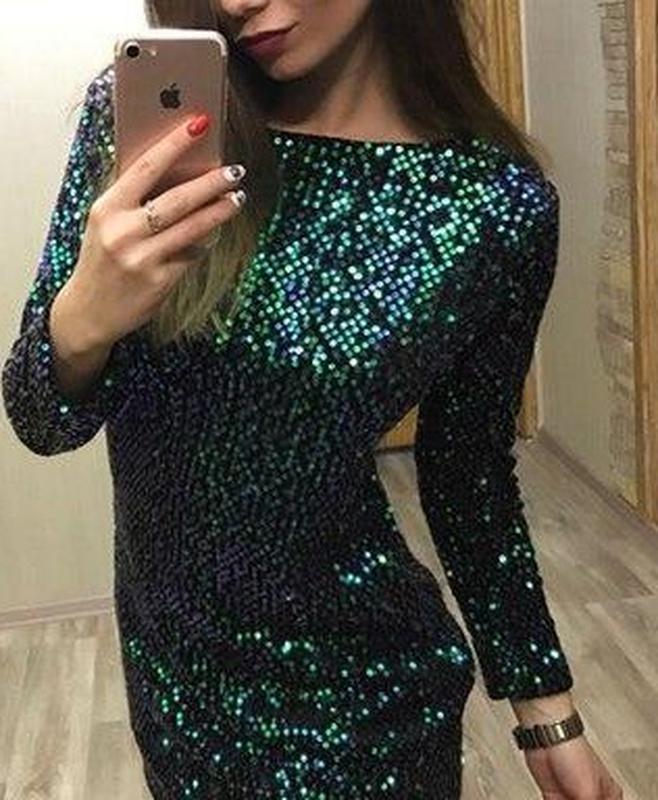 Шикарное платье с пайетками хамелеон! - Фото 2
