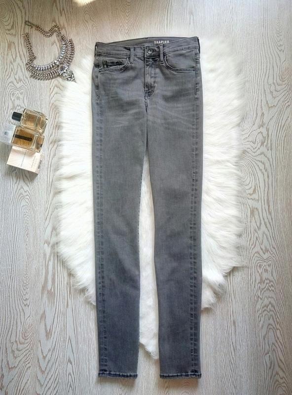 Серые джинсы скинни узкачи американки стрейч высокая талия пос... - Фото 2