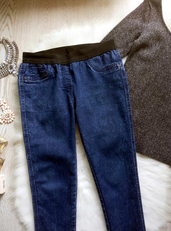 Синие джинсы джеггинсы с резинкой скинни американки варенки ук...