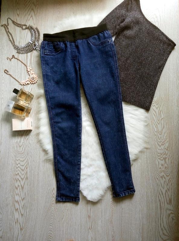 Синие джинсы джеггинсы с резинкой скинни американки варенки ук... - Фото 3
