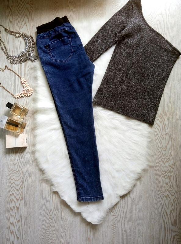 Синие джинсы джеггинсы с резинкой скинни американки варенки ук... - Фото 4