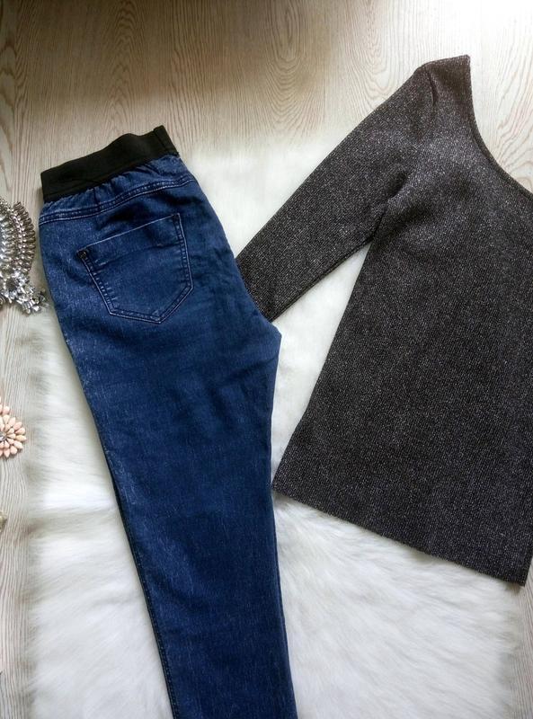 Синие джинсы джеггинсы с резинкой скинни американки варенки ук... - Фото 5