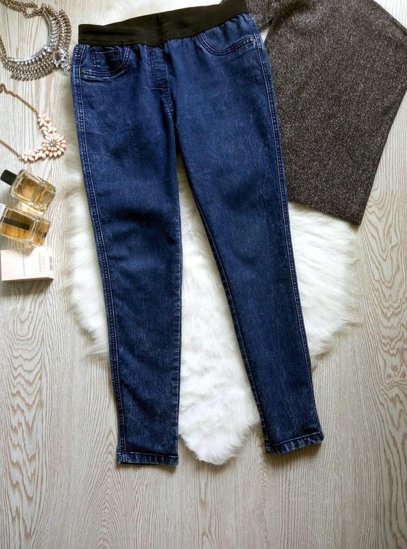 Синие джинсы джеггинсы с резинкой скинни американки варенки ук... - Фото 6