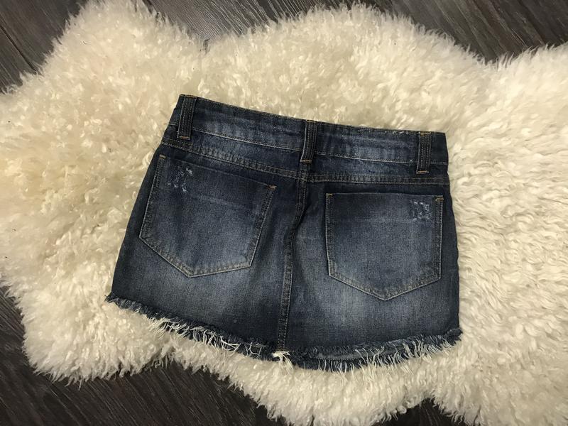 Джинсовая мини юбка - Фото 4