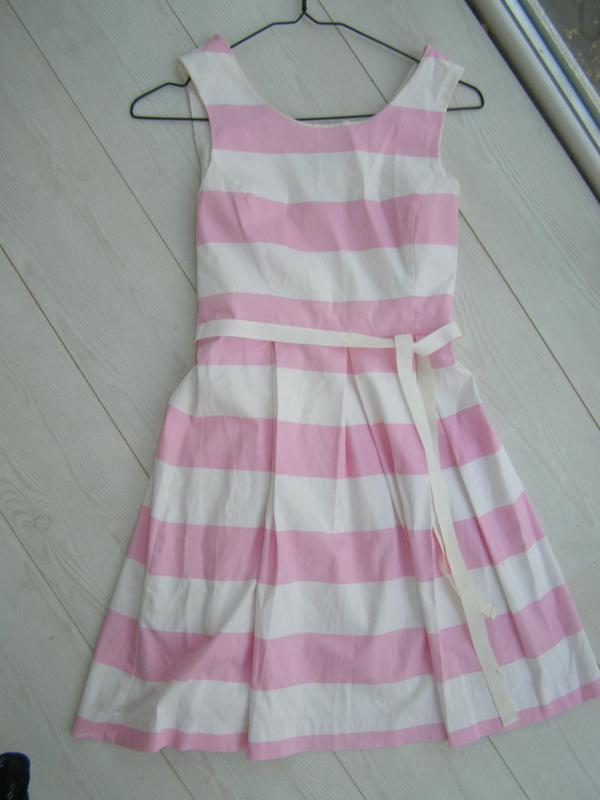 Милое платье в бело-розовую полоску от forever 21 s-размер