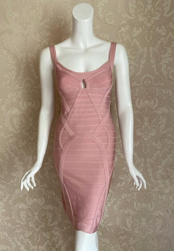 Herve leger оригинал розовое дизайнерское коктейльное платье