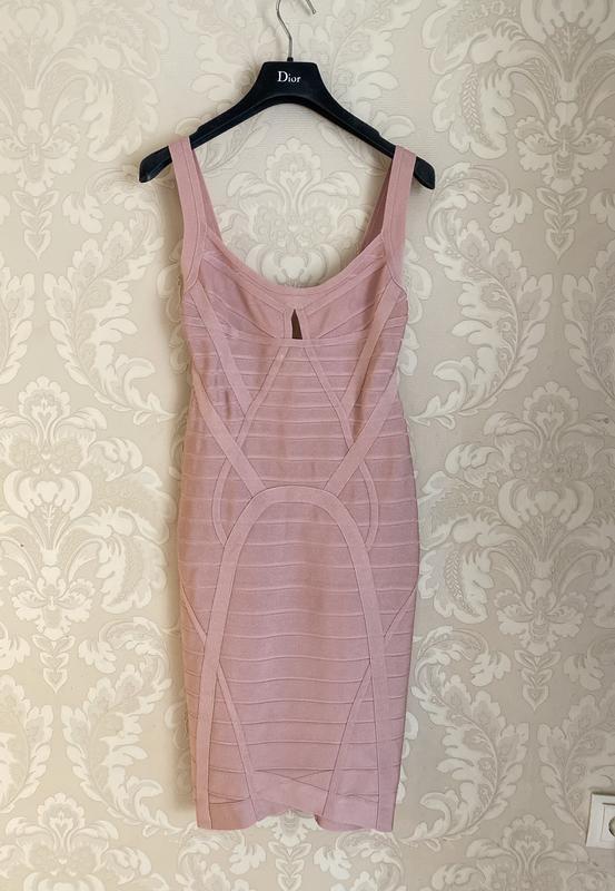Herve leger оригинал розовое дизайнерское коктейльное платье - Фото 4