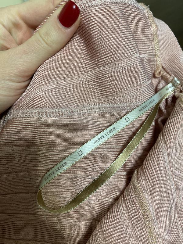 Herve leger оригинал розовое дизайнерское коктейльное платье - Фото 6