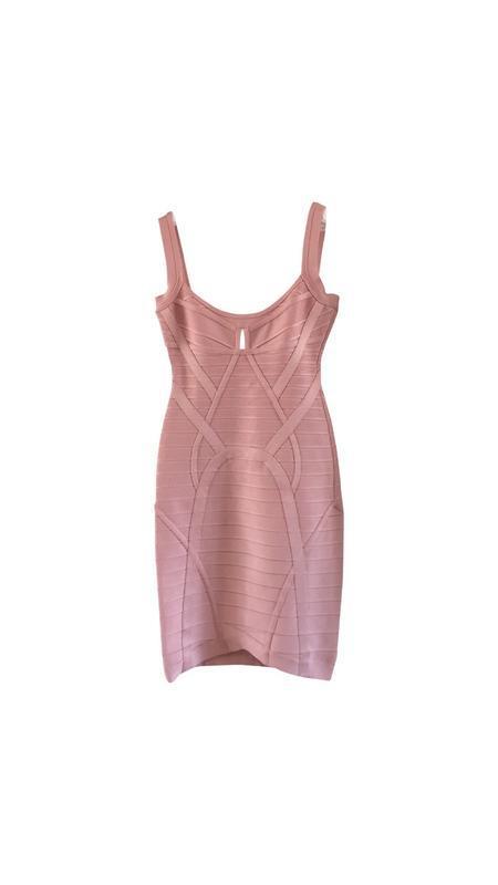 Herve leger оригинал розовое дизайнерское коктейльное платье - Фото 7