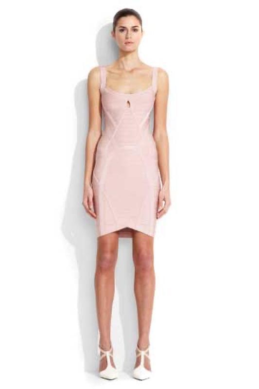 Herve leger оригинал розовое дизайнерское коктейльное платье - Фото 8