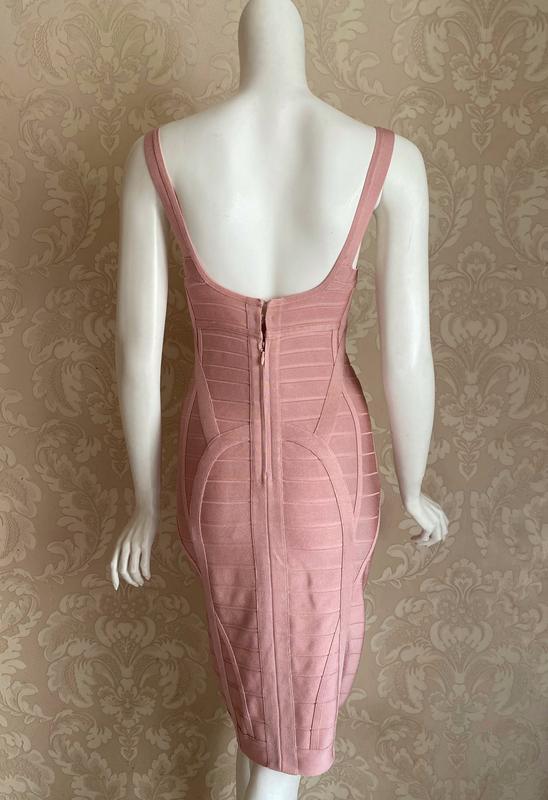 Herve leger оригинал розовое дизайнерское коктейльное платье - Фото 10