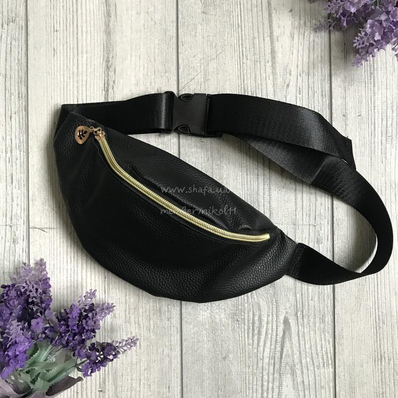 Черная поясная сумка из эко кожи 💥 бананка 💥 клатч на пояс 💥