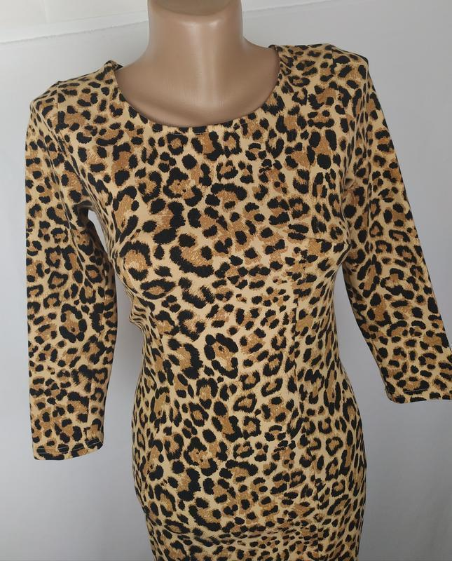 Платье стильное трикотажное по фигуре в тигровый принт h&m uk ... - Фото 2
