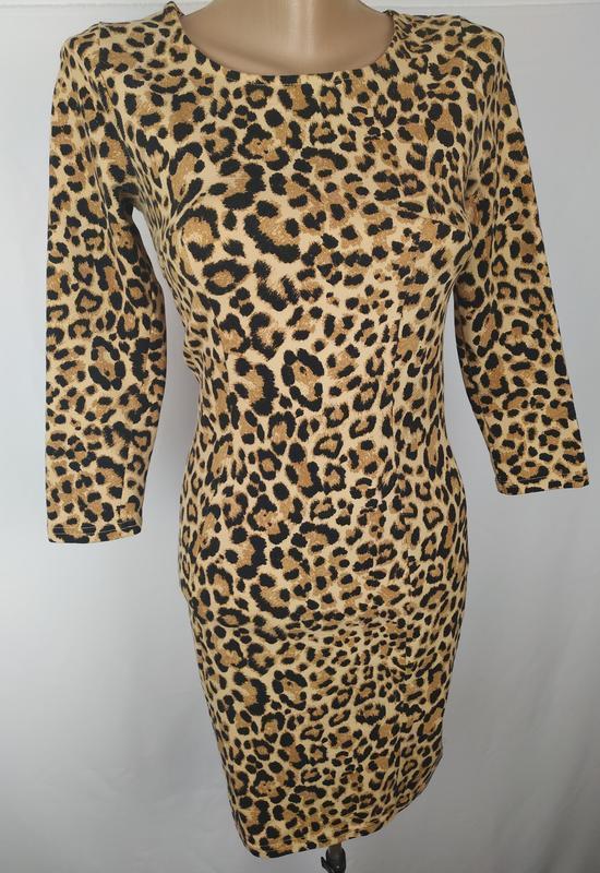 Платье стильное трикотажное по фигуре в тигровый принт h&m uk ... - Фото 3