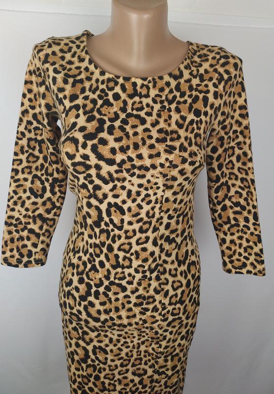 Платье стильное трикотажное по фигуре в тигровый принт h&m uk ... - Фото 4