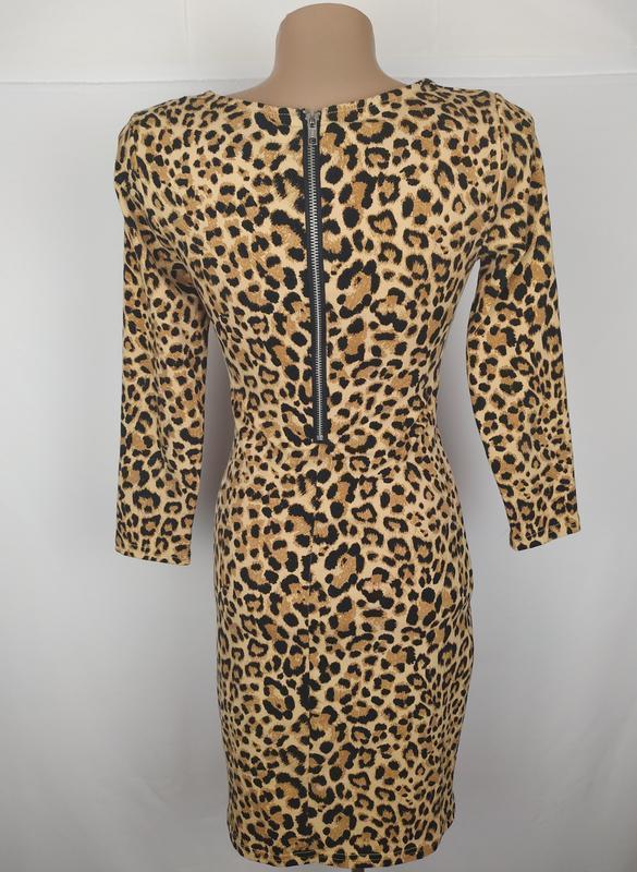 Платье стильное трикотажное по фигуре в тигровый принт h&m uk ... - Фото 5