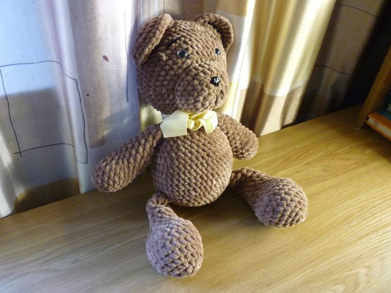 Вязанная мягкая, плюшевая игрушка (амируруми) - МИШКА - Фото 3