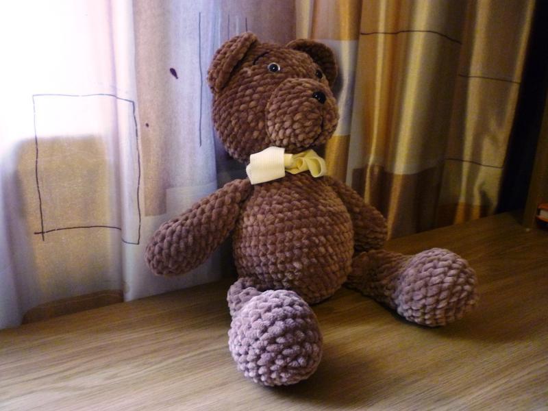 Вязанная мягкая, плюшевая игрушка (амируруми) - МИШКА - Фото 4