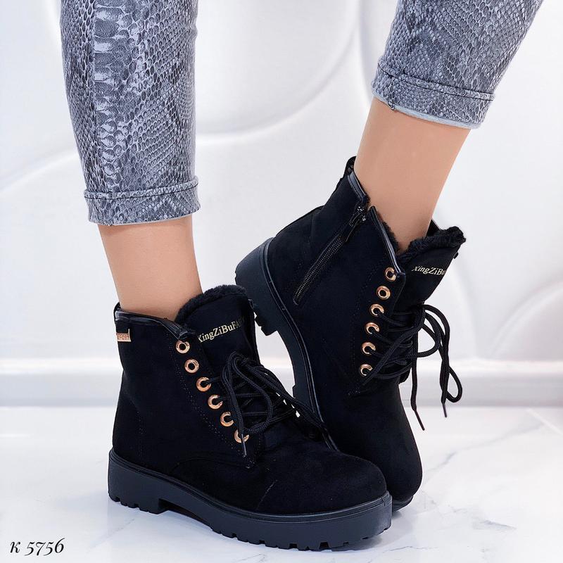 Зимние замшевые ботинки на низком ходу, тёплые чёрные ботинки ...