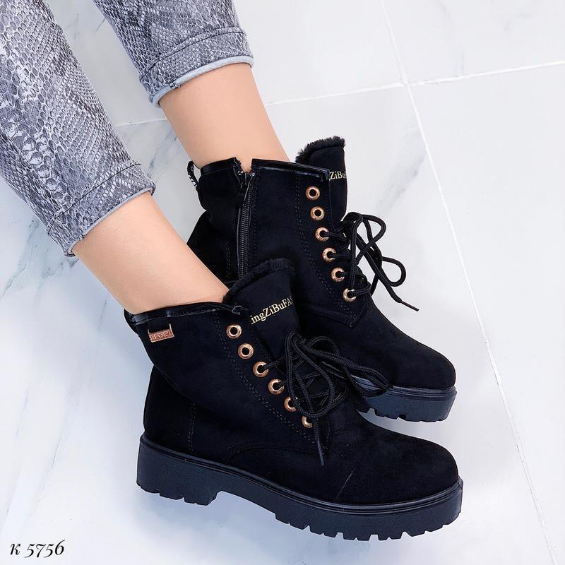 Зимние замшевые ботинки на низком ходу, тёплые чёрные ботинки ... - Фото 2