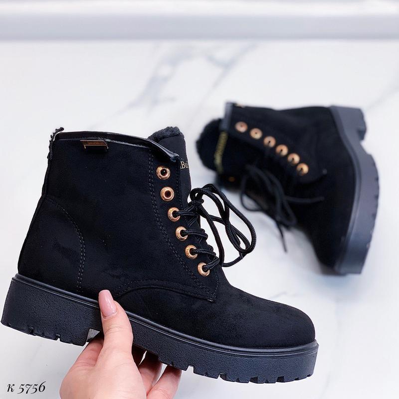 Зимние замшевые ботинки на низком ходу, тёплые чёрные ботинки ... - Фото 3