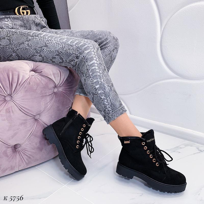 Зимние замшевые ботинки на низком ходу, тёплые чёрные ботинки ... - Фото 4