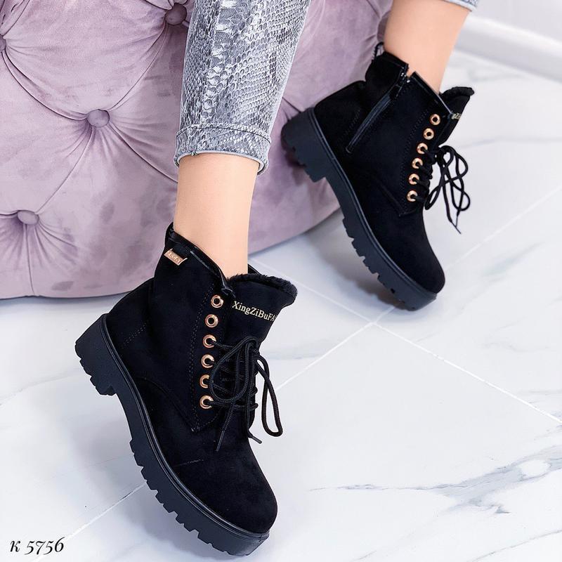 Зимние замшевые ботинки на низком ходу, тёплые чёрные ботинки ... - Фото 5