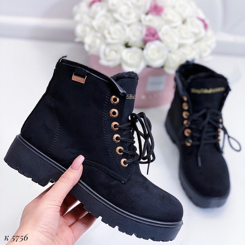 Зимние замшевые ботинки на низком ходу, тёплые чёрные ботинки ... - Фото 6