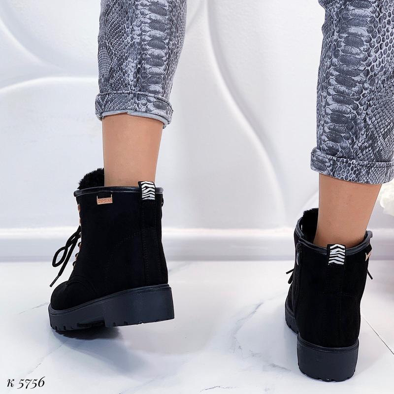 Зимние замшевые ботинки на низком ходу, тёплые чёрные ботинки ... - Фото 7