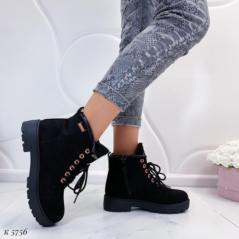 Зимние замшевые ботинки на низком ходу, тёплые чёрные ботинки ... - Фото 8