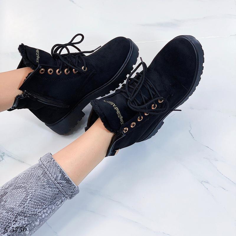 Зимние замшевые ботинки на низком ходу, тёплые чёрные ботинки ... - Фото 9