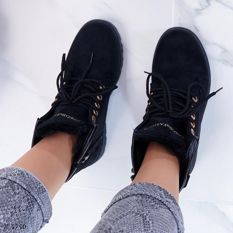 Зимние замшевые ботинки на низком ходу, тёплые чёрные ботинки ... - Фото 10