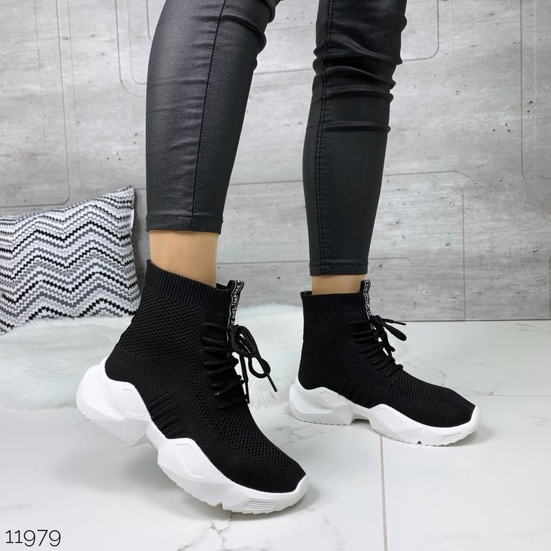 Чёрные кроссовки носки,чёрные высокие текстильные кроссовки с ...